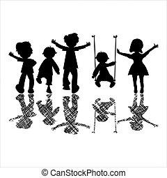Niños felices con sombras a rayas