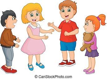 Niños felices de dibujos animados hablando aislados de fondo blanco