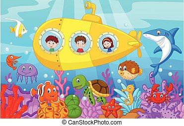 Niños felices dibujando en submarino