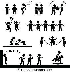 Niños felices jugando al pictograma