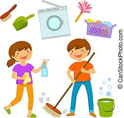 Niños felices limpiando la casa