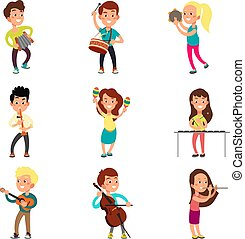 Niños felices músicos con instrumentos musicales. Niños talentosos tocando música, cantando y bailando personajes de vector de dibujos animados