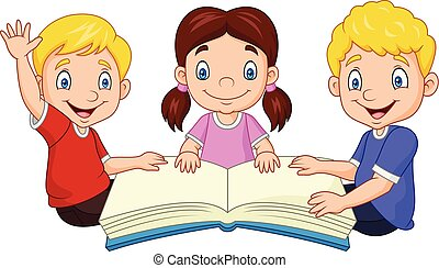 Niños felices que leen un libro