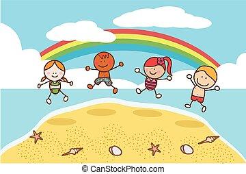 Niños felices saltando en la playa