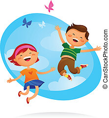 Niños felices saltando