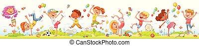 Niños felices saltando y bailando juntos en el parque de diversiones