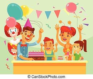 Niños feliz cumpleaños. Fiesta familiar. Ilustración plana de dibujos animados