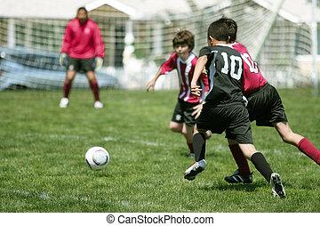 niños, futbol, juego
