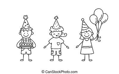 niños, garabato, niños, vector, soplador, pastel, estilo, festivo, globos, holiday., aislado, grupo, drawing., plano de fondo, blanco, dibujado, ilustración, sombreros, fiesta., mano, cumpleaños