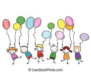niños, globos, feliz