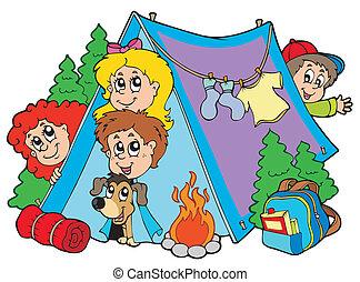 niños, grupo, campamento