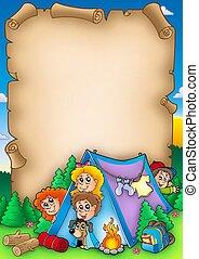 niños, grupo, rúbrica, campamento