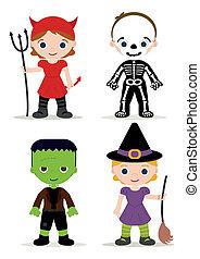 niños, halloween el traje