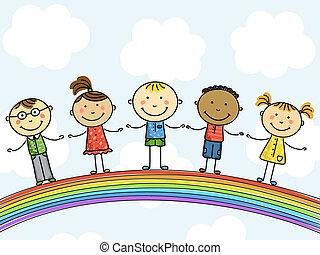 Niños. Ilustración del vector.
