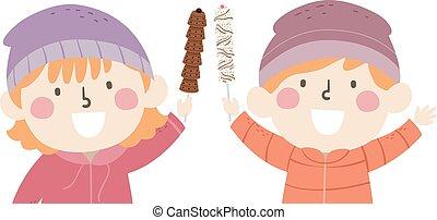 niños, ilustración, palo, chocolates