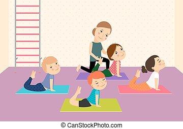 niños, instructor., yoga