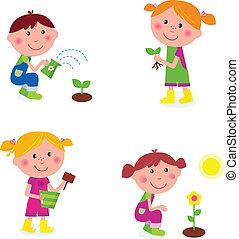 niños, jardinería, colección