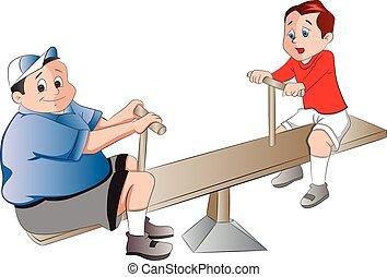 niños, juego, dos, ilustración, balancín