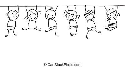 niños, juego, feliz
