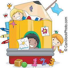 niños, juego, preescolar