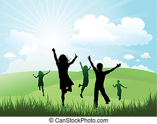 Niños jugando afuera en un día soleado