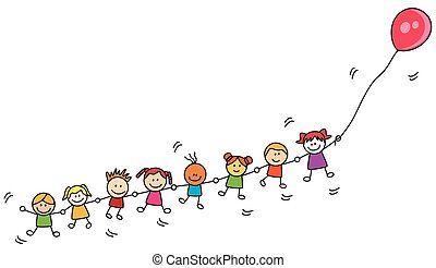 Niños jugando al globo