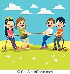 Niños jugando al remolcador