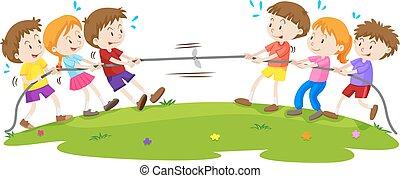 Niños jugando al tira y afloja en el parque
