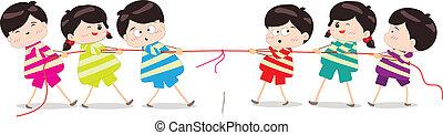 Niños jugando al tira y afloja