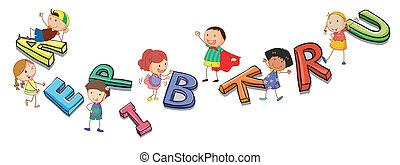 Niños jugando con alfabetos