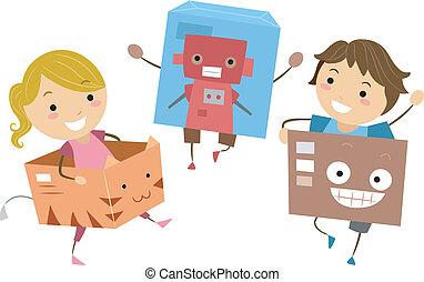 Niños jugando con cajas