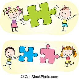 Niños jugando con rompecabezas