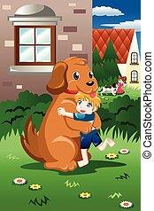 Niños jugando con sus perros