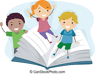 Niños jugando con un libro