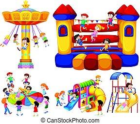 Niños jugando en diferentes juegos