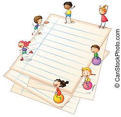 Niños jugando en las fronteras de papel