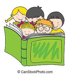 Niños leyendo un libro