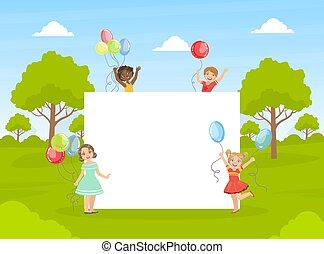 niños, lindo, bandera, tenencia, colorido, ilustración, blanco, vacío, feliz, vector, globos