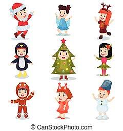 Niños lindos con disfraces de Navidad, niños felices disfrazados de elfos, muñeco de nieve, Santa Claus, árbol de Navidad, copo de nieve, pan de jengibre, ardilla, dibujos animados de pingüinos