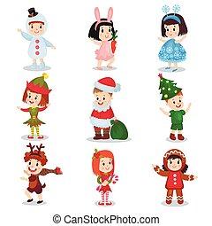 Niños lindos con disfraces de Navidad, niños felices disfrazados de elfos, muñecos de nieve, renos, Santa Claus, árbol de Navidad, copos de nieve, pan de jengibre, ilustraciones de vectores de conejo