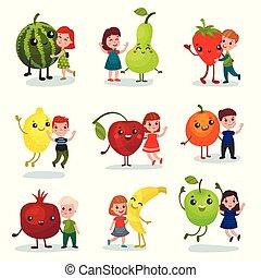 Niños lindos divirtiéndose y abrazando frutas gigantes, mejores amigos, comida saludable para niños vectores de dibujos animados