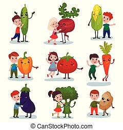 Niños lindos divirtiéndose y abrazando vegetales gigantes, mejores amigos, comida saludable para niños vectores de dibujos animados