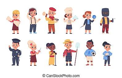niños, llevando, costumes., trajes, lindo, caricatura, personal, caracteres, trabajadores, conjunto, professions., niños, adultos, poco, diferente, ocupación, vector, uniforms., niñas, feliz, niños, juego