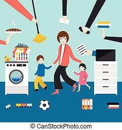 niños, madre, multitarea, coocking, trabajando, woman., calling., mujer de negocios
