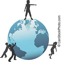 niños, movimiento, futuro, tierra, mundo, excepto