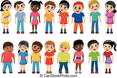 Niños multiculturales aislados