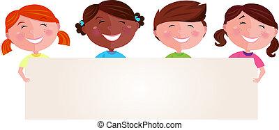 Niños multiculturales con estandarte