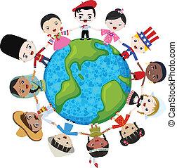 Niños multiculturales de la Tierra