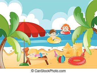 Niños nadando en el océano