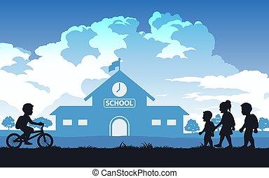 niños, negro, color diseño, yendo, silueta, escuela